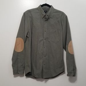 J. Crew Heathered chamois Olive elbow-patch Shirt